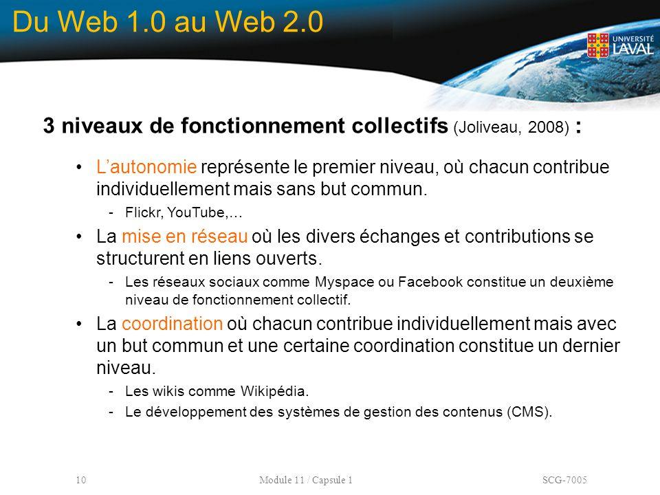 Du Web 1.0 au Web 2.0 3 niveaux de fonctionnement collectifs (Joliveau, 2008) :