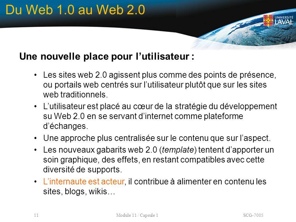 Du Web 1.0 au Web 2.0 Une nouvelle place pour l'utilisateur :