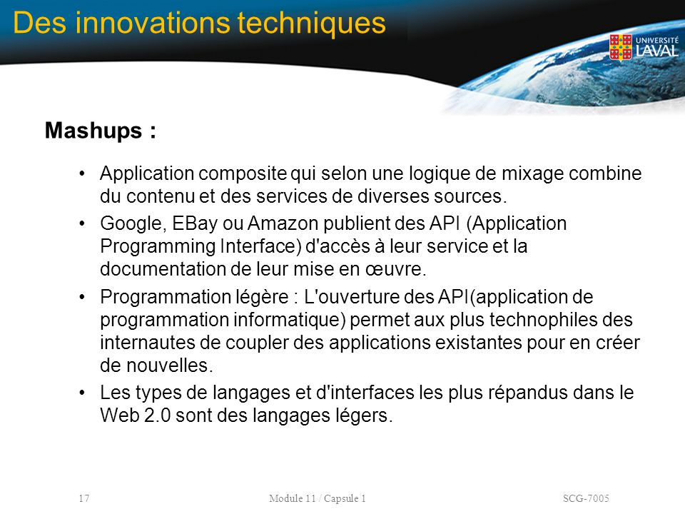 Des innovations techniques