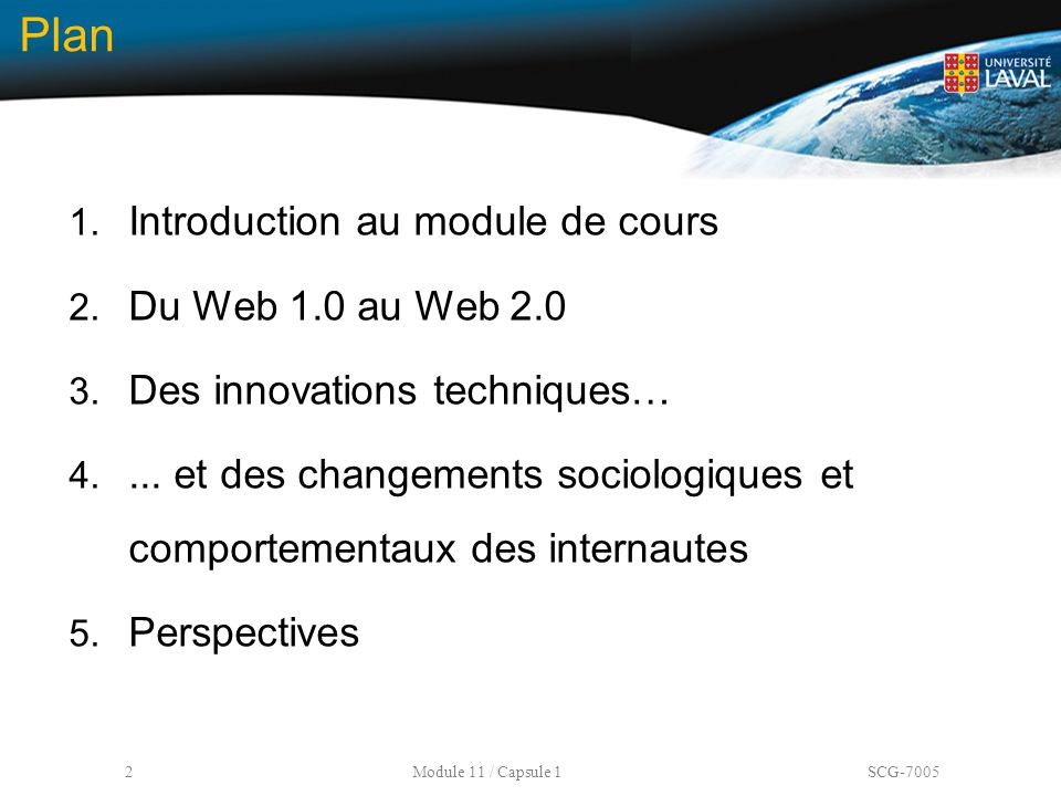 Plan Introduction au module de cours Du Web 1.0 au Web 2.0
