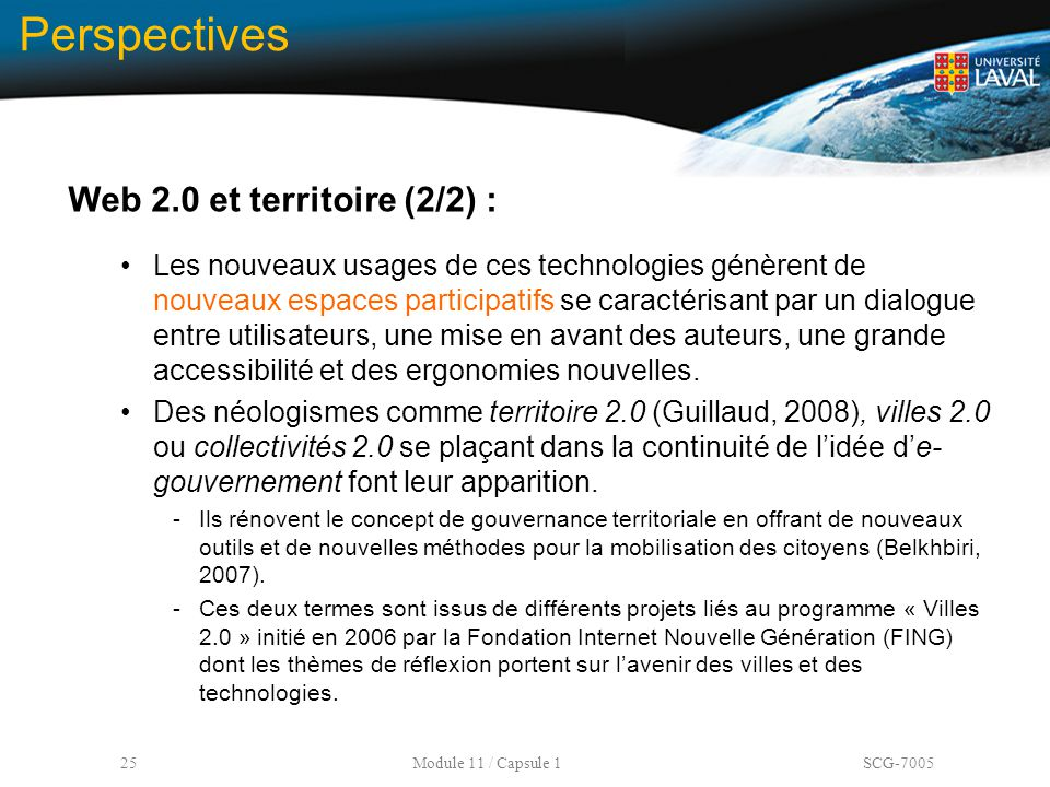 Perspectives Web 2.0 et territoire (2/2) :