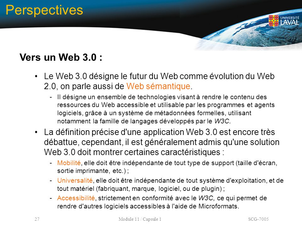 Perspectives Vers un Web 3.0 :