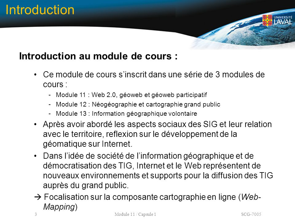 Introduction Introduction au module de cours :