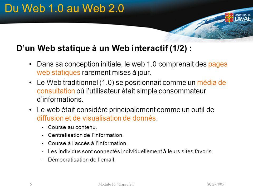Du Web 1.0 au Web 2.0 D'un Web statique à un Web interactif (1/2) :