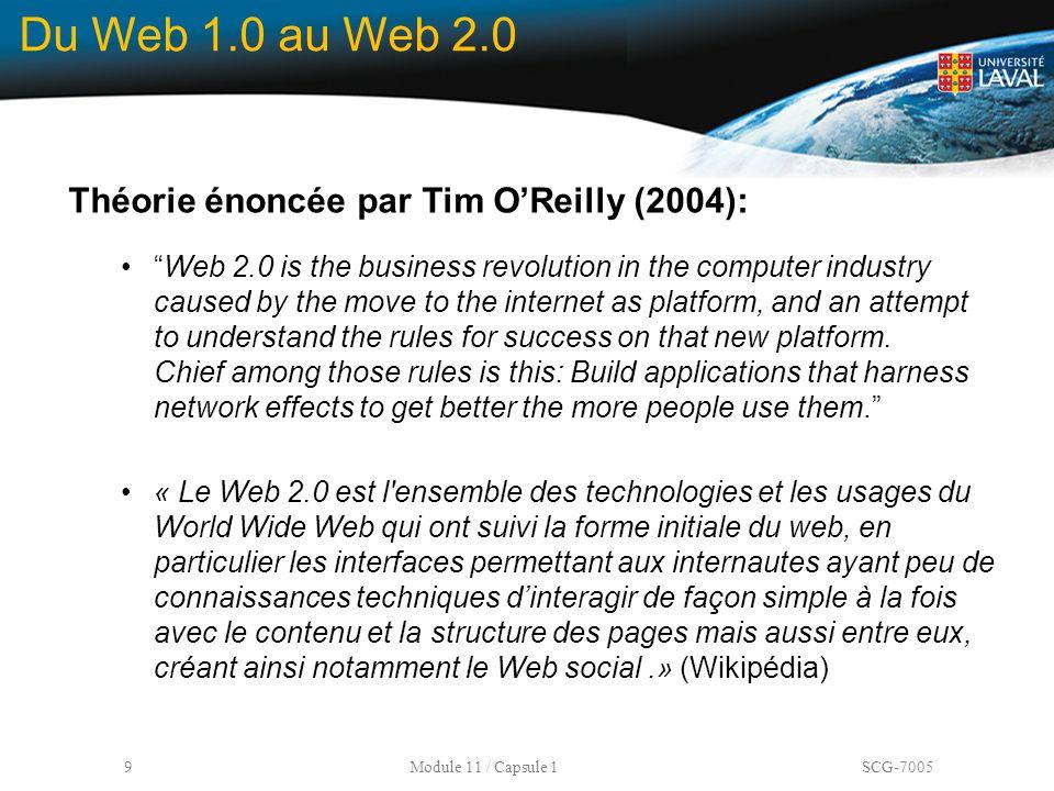 Du Web 1.0 au Web 2.0 Théorie énoncée par Tim O'Reilly (2004):