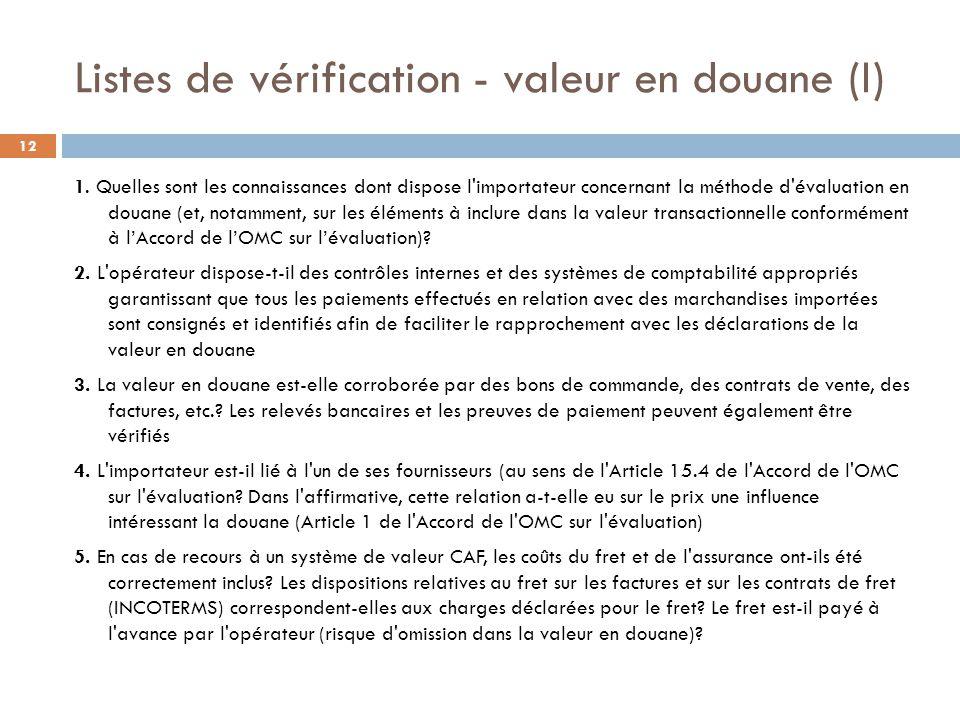 Listes de vérification - valeur en douane (I)