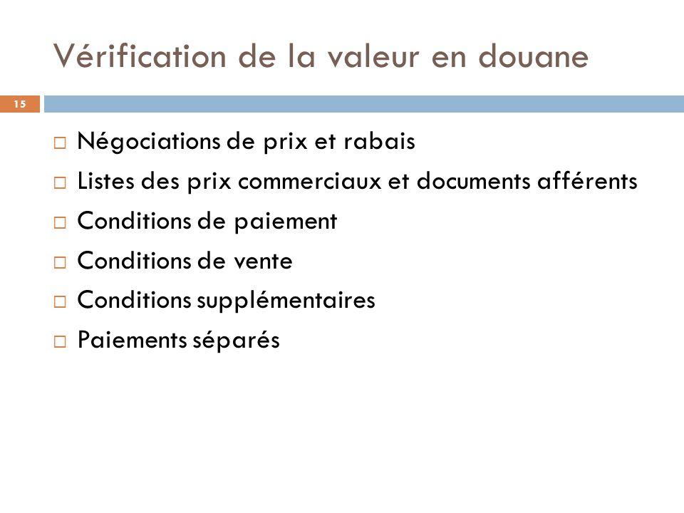 Vérification de la valeur en douane