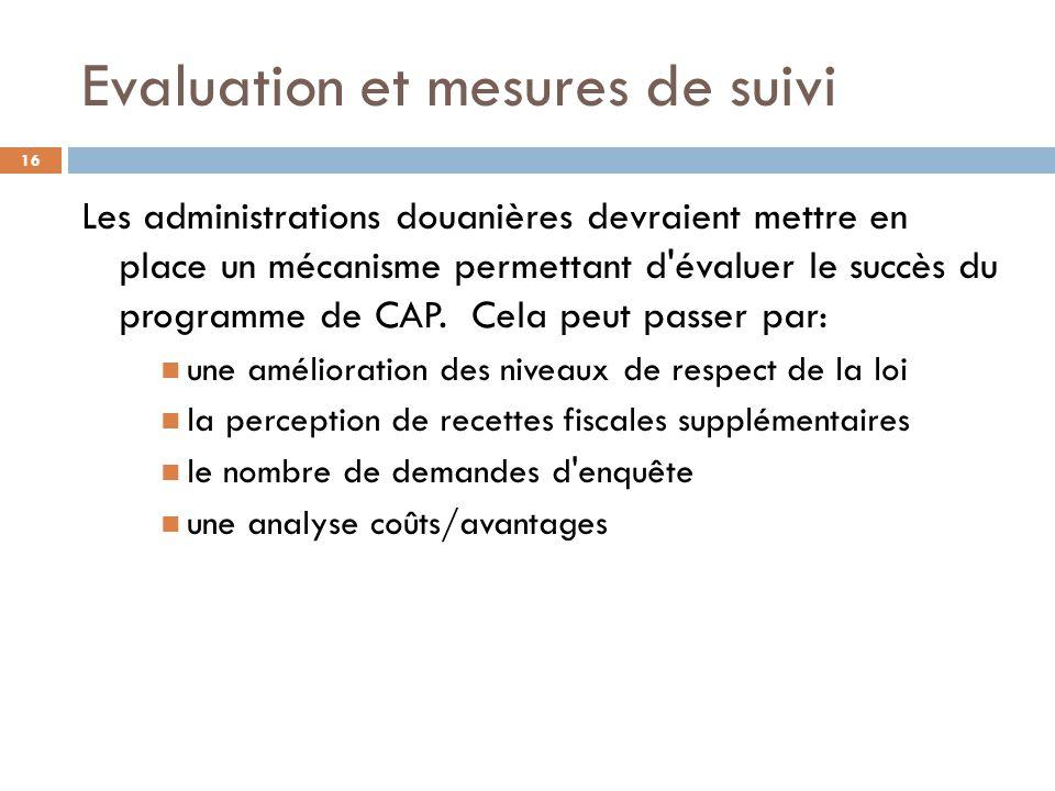 Evaluation et mesures de suivi