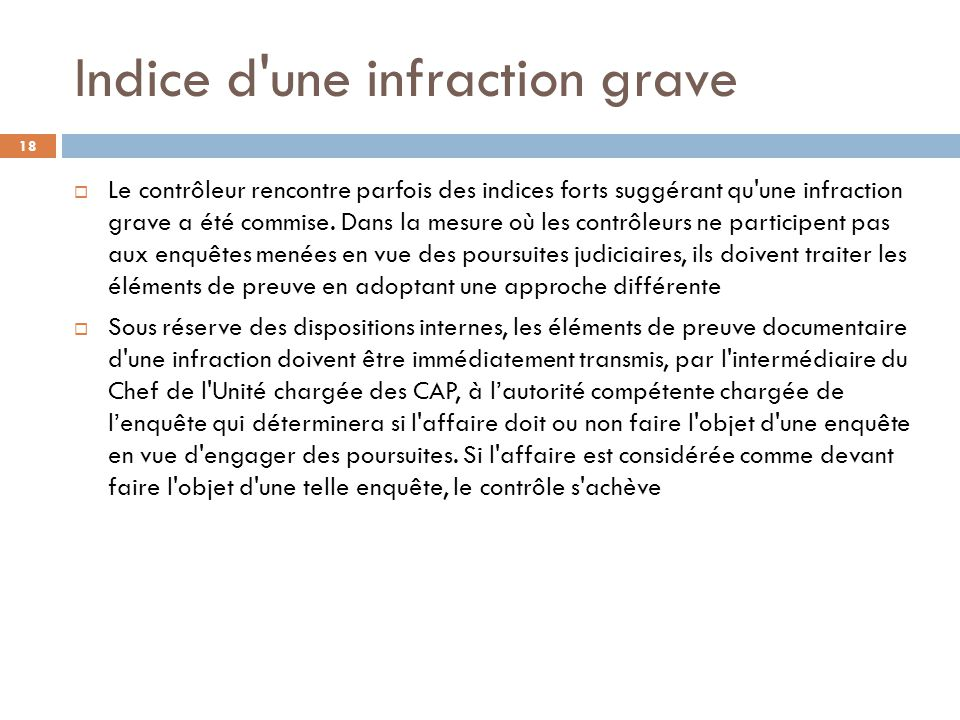 Indice d une infraction grave