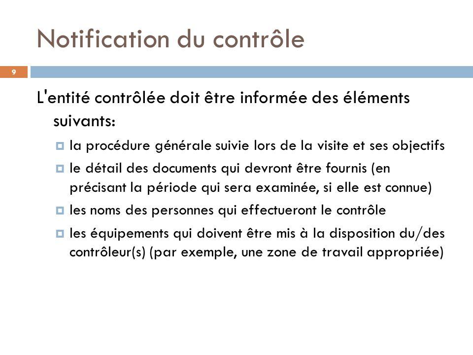 Notification du contrôle