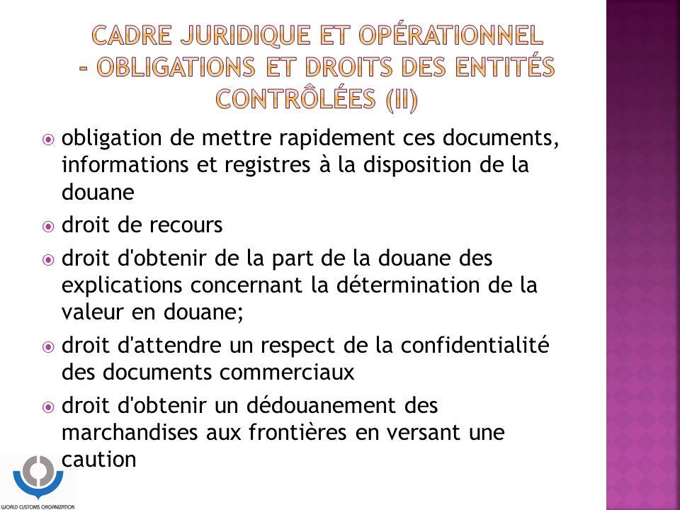 CADRE JURIDIQUE ET OPÉRATIONNEL - Obligations et droits des entités contrôlées (II)
