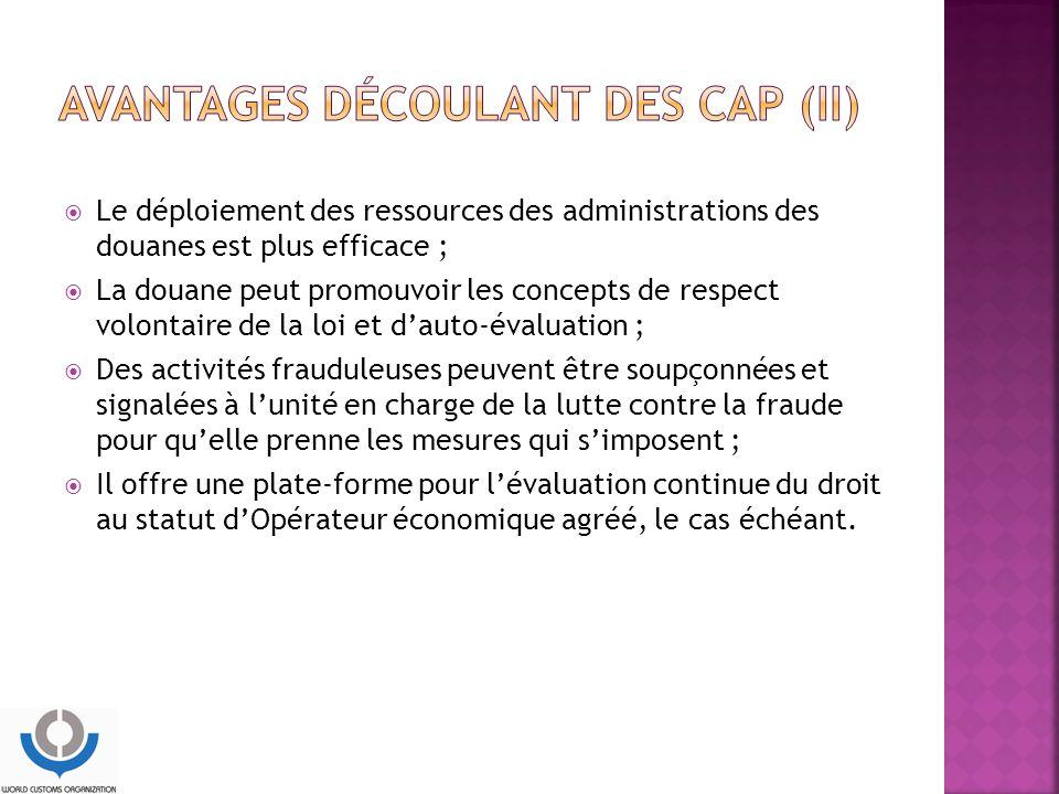 Avantages découlant des CAP (II)