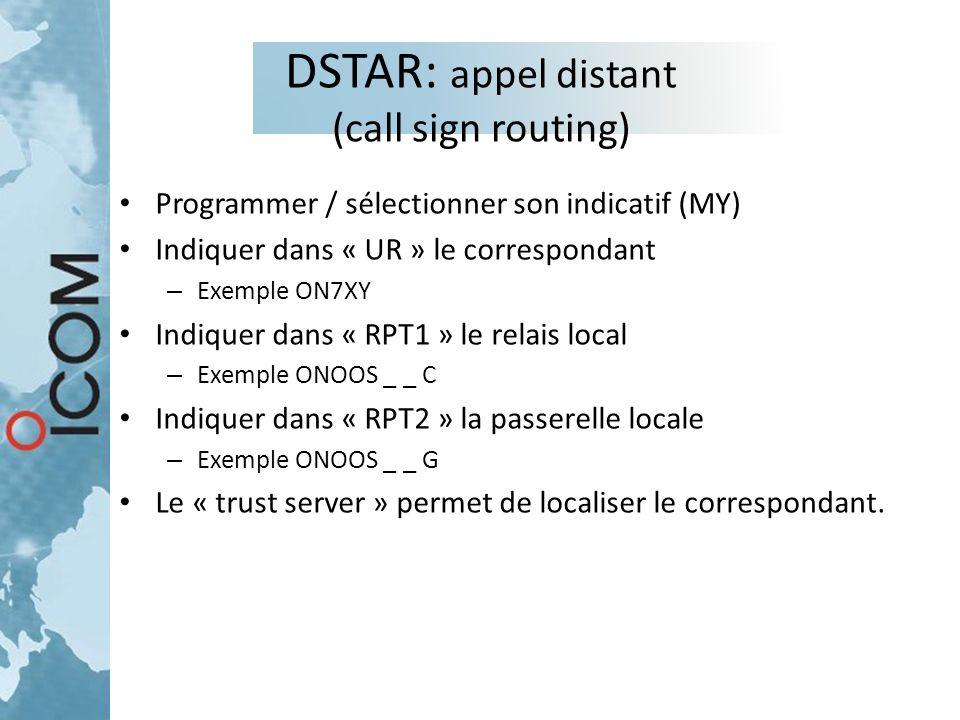 DSTAR: appel distant (call sign routing)