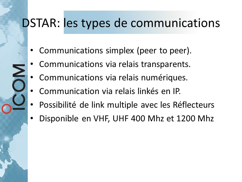 DSTAR: les types de communications