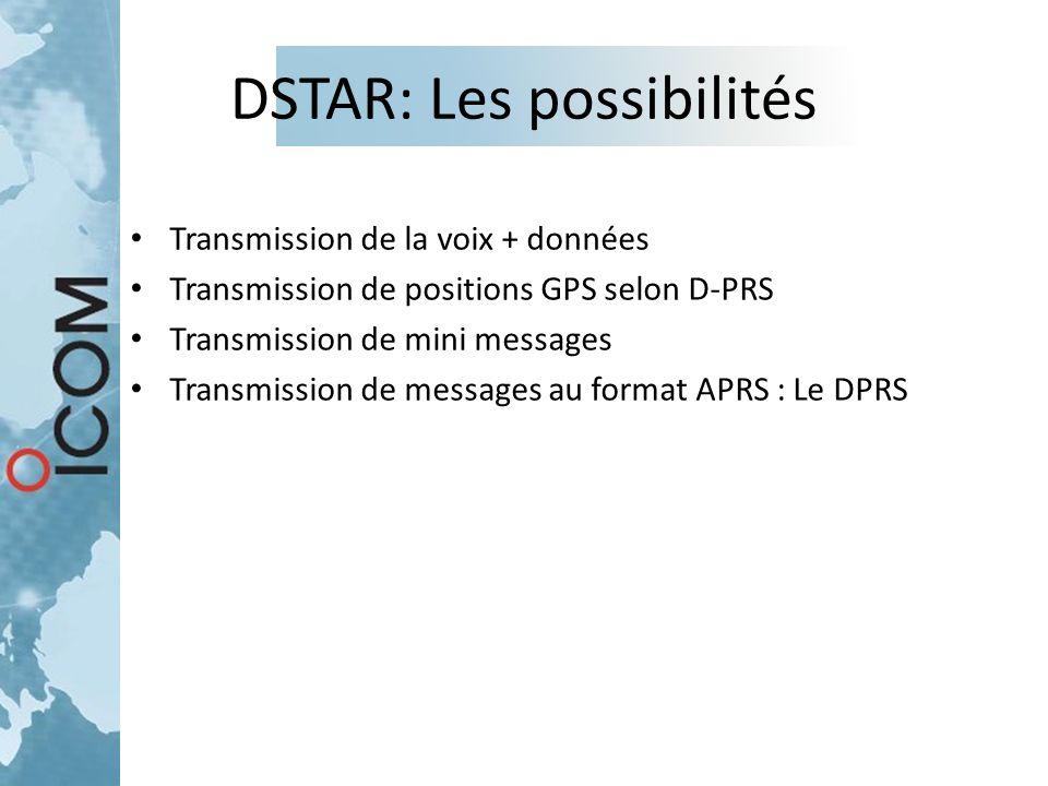 DSTAR: Les possibilités