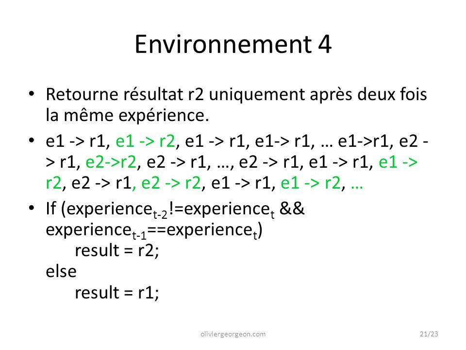 Environnement 4 Retourne résultat r2 uniquement après deux fois la même expérience.