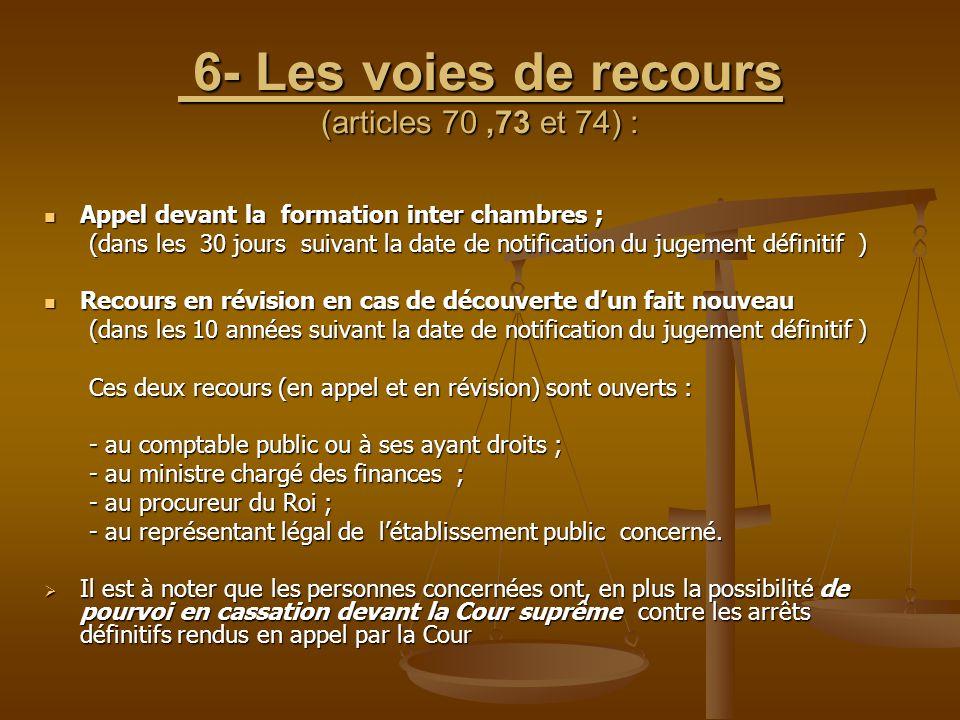 6- Les voies de recours (articles 70 ,73 et 74) :