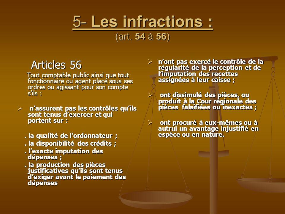 5- Les infractions : (art. 54 à 56)