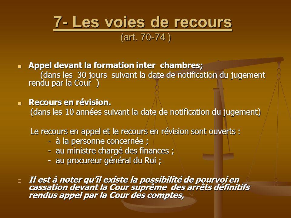 7- Les voies de recours (art. 70-74 )
