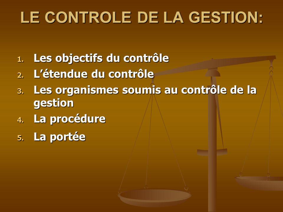 LE CONTROLE DE LA GESTION: