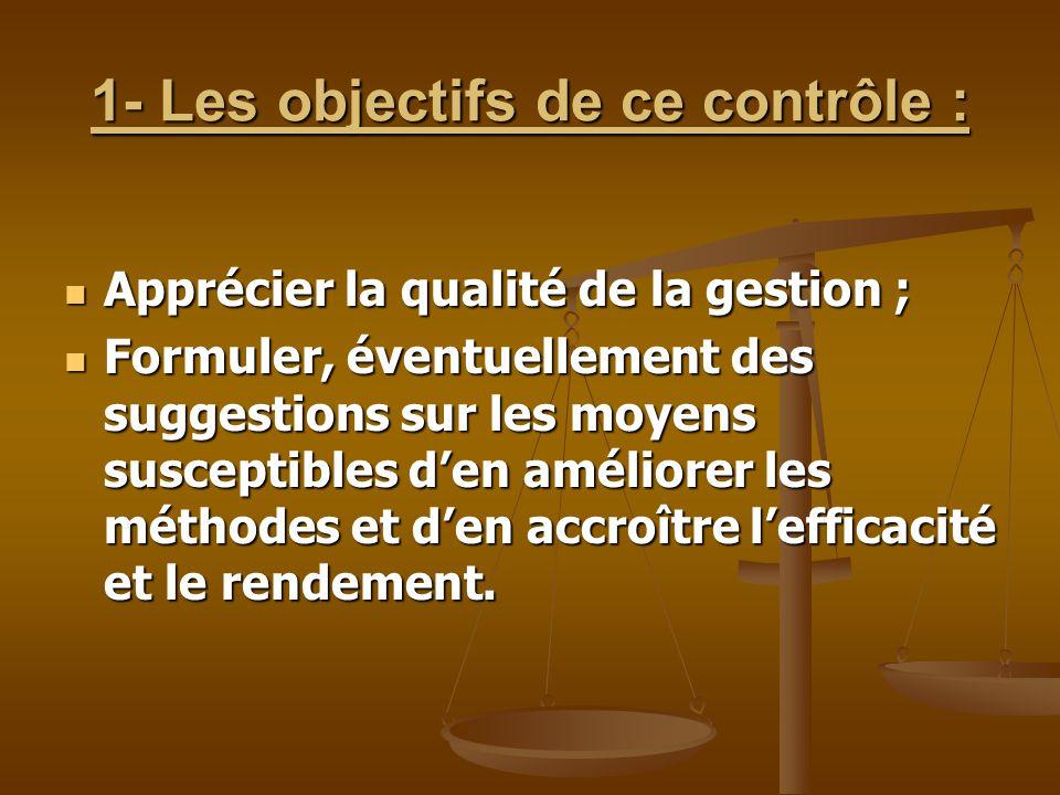 1- Les objectifs de ce contrôle :