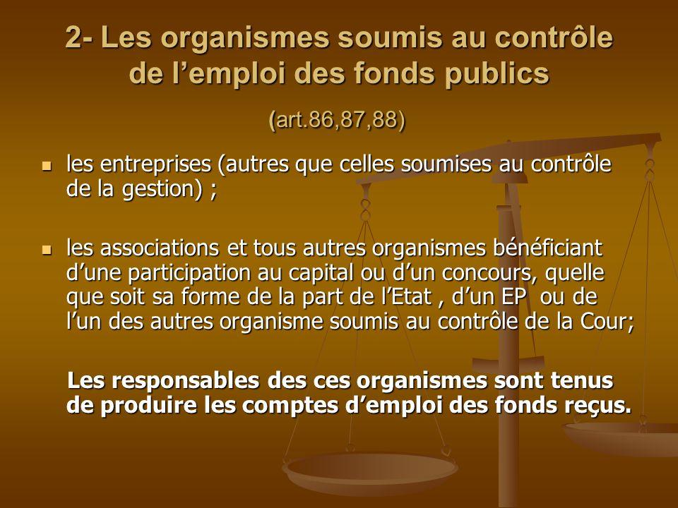 2- Les organismes soumis au contrôle de l'emploi des fonds publics (art.86,87,88)