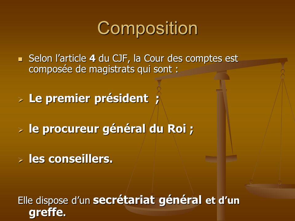Composition Le premier président ; le procureur général du Roi ;