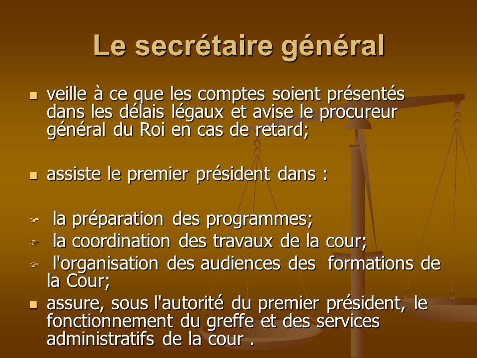 Le secrétaire général veille à ce que les comptes soient présentés dans les délais légaux et avise le procureur général du Roi en cas de retard;