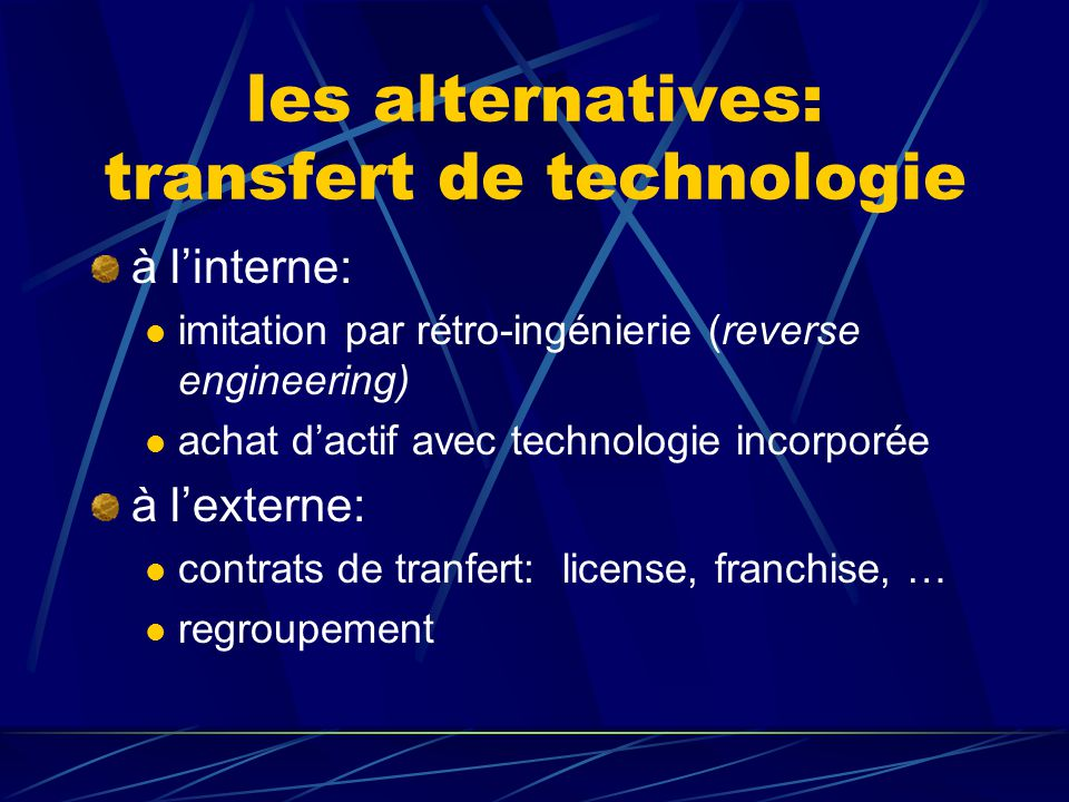 les alternatives: transfert de technologie