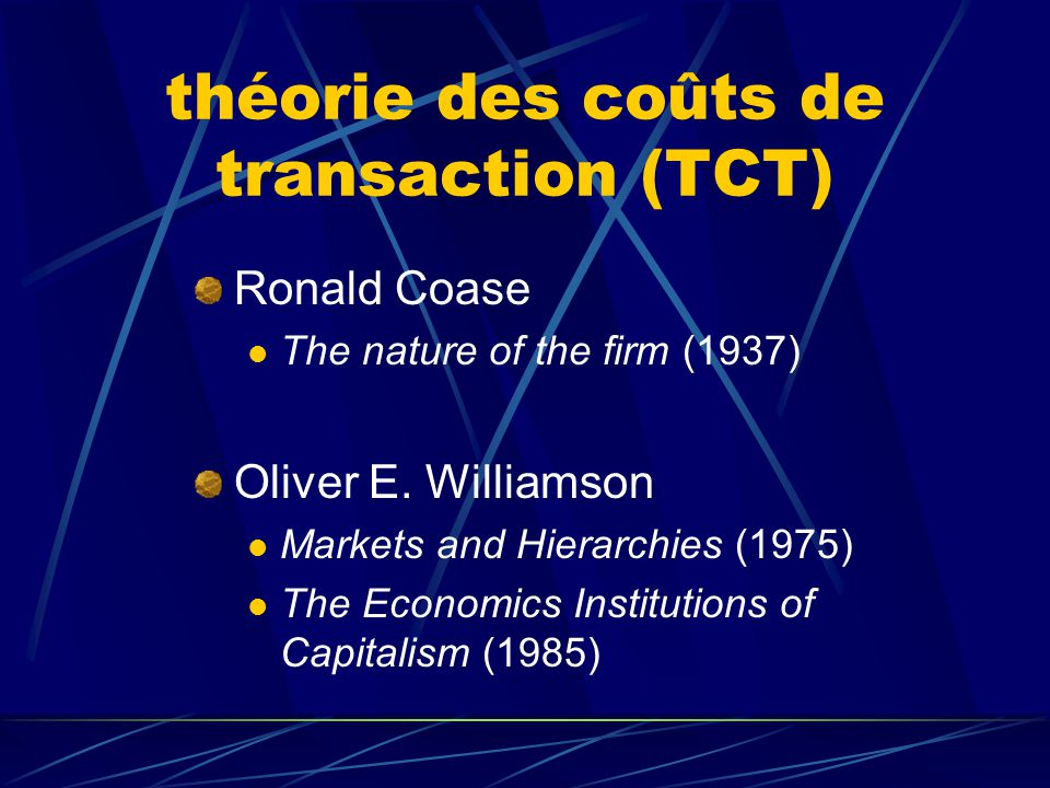 théorie des coûts de transaction (TCT)