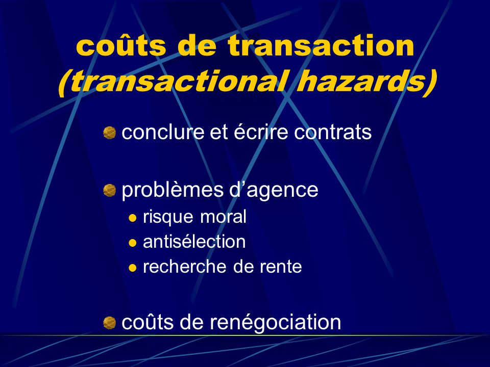 coûts de transaction (transactional hazards)
