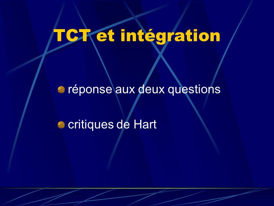 TCT et intégration réponse aux deux questions critiques de Hart