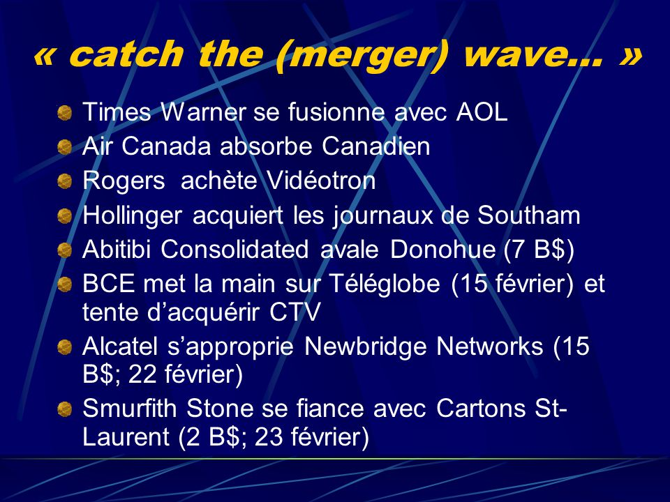 « catch the (merger) wave… »