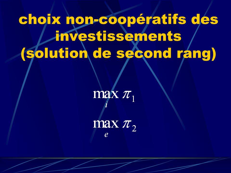 choix non-coopératifs des investissements (solution de second rang)