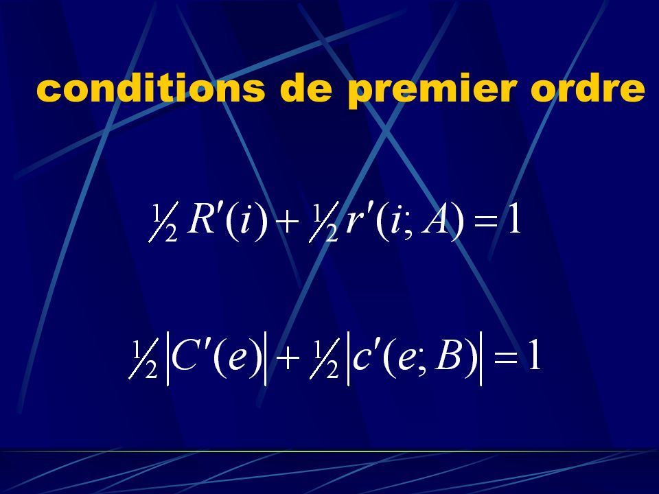 conditions de premier ordre