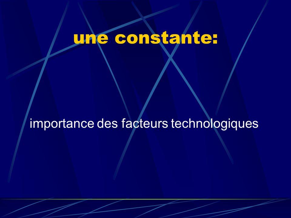 une constante: importance des facteurs technologiques