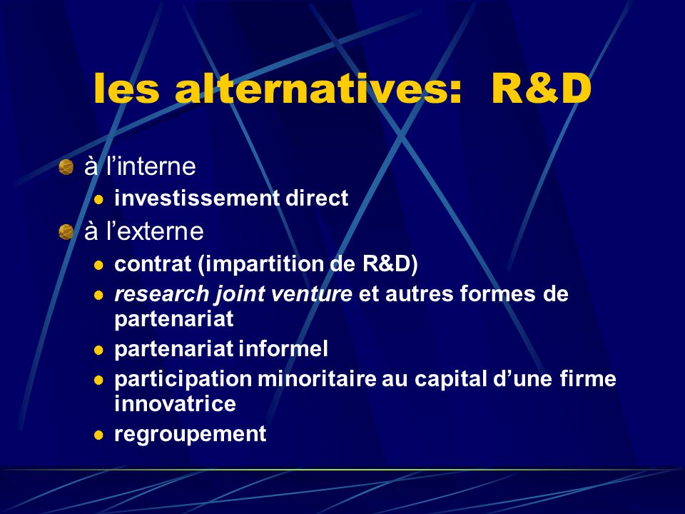 les alternatives: R&D à l'interne à l'externe investissement direct