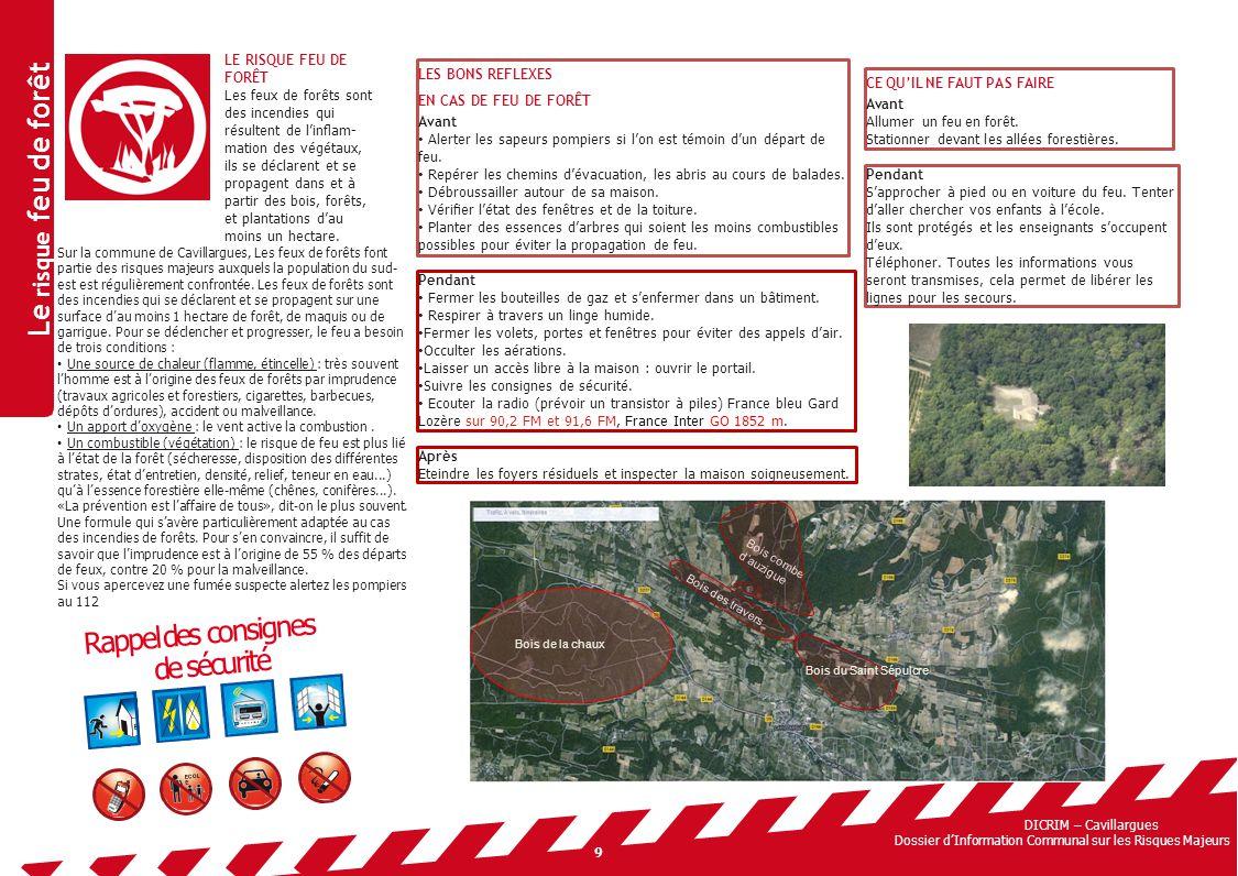 Le risque feu de forêt Rappel des consignes de sécurité