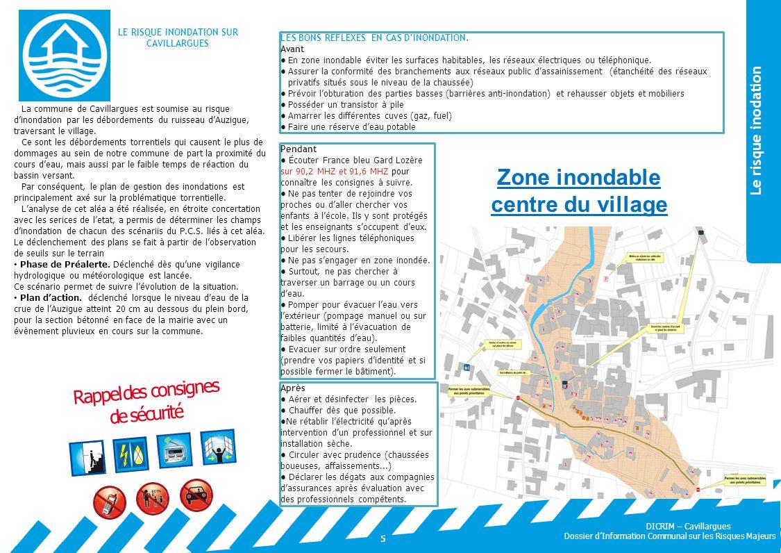 LE RISQUE INONDATION SUR CAVILLARGUES Zone inondable centre du village