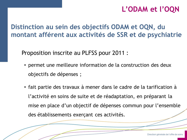 L'ODAM et l'OQN Distinction au sein des objectifs ODAM et OQN, du montant afférent aux activités de SSR et de psychiatrie.