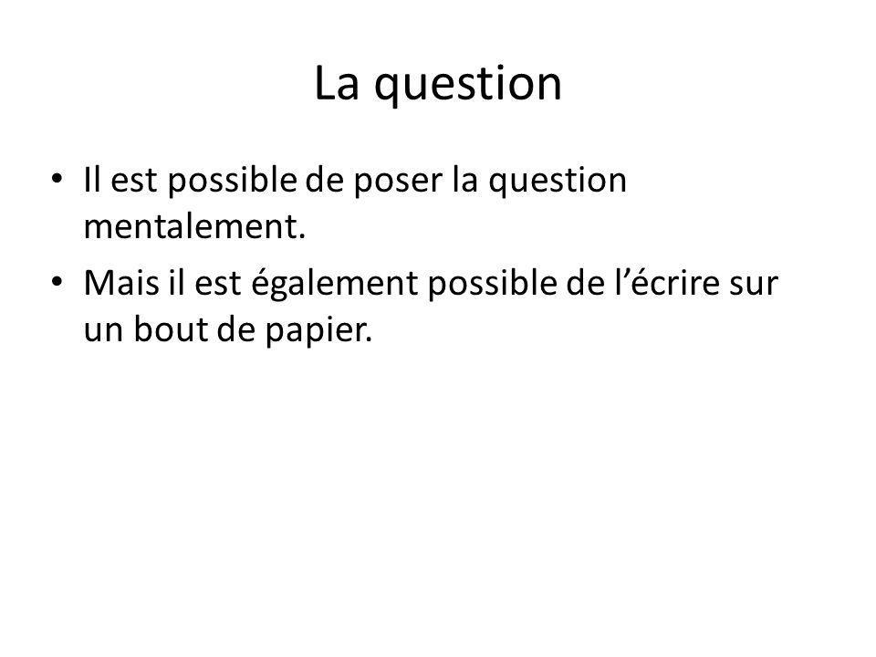 La question Il est possible de poser la question mentalement.