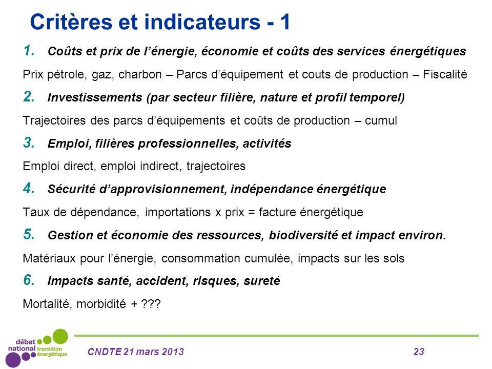 Critères et indicateurs - 1