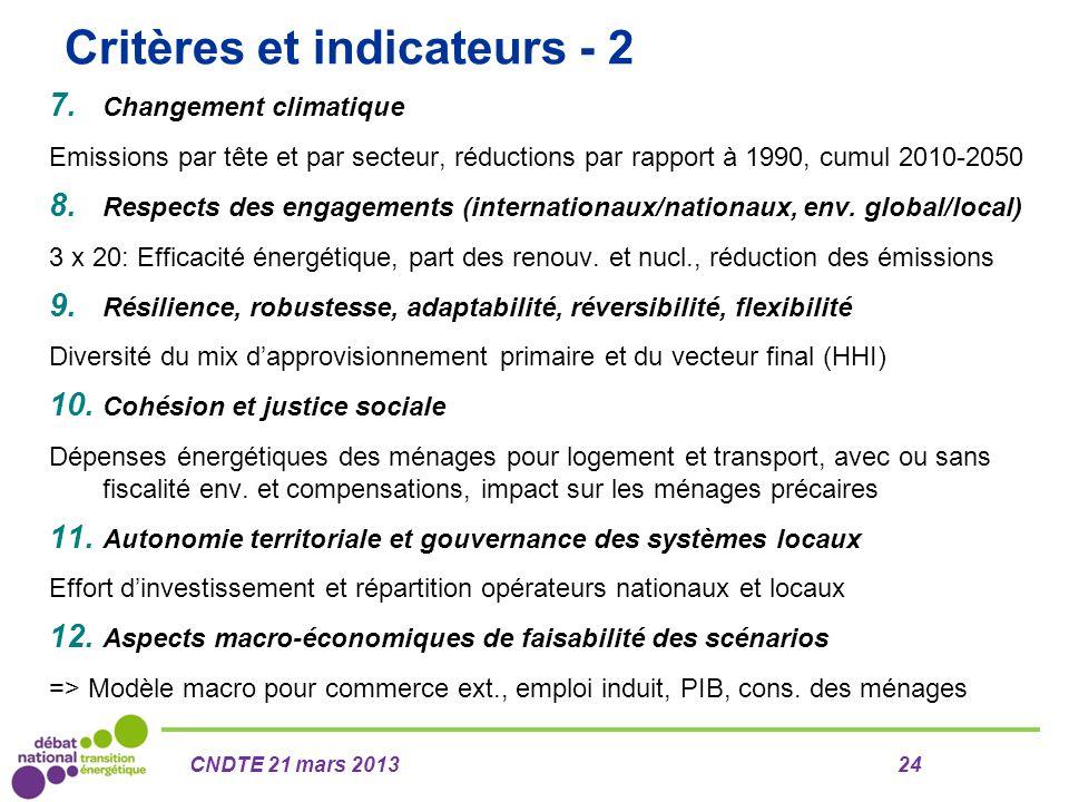 Critères et indicateurs - 2