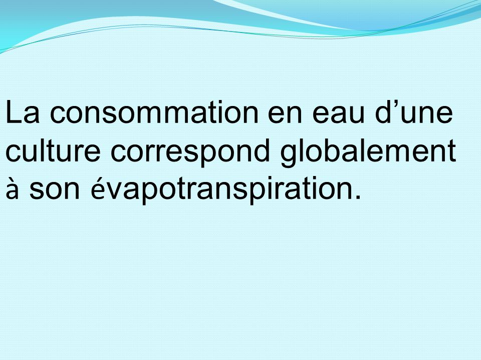 La consommation en eau d'une culture correspond globalement à son évapotranspiration.