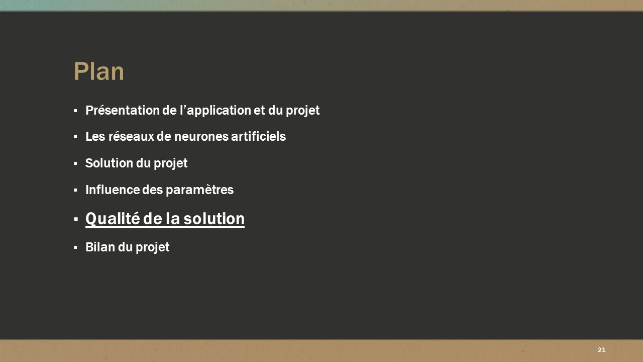 Plan Qualité de la solution Présentation de l'application et du projet