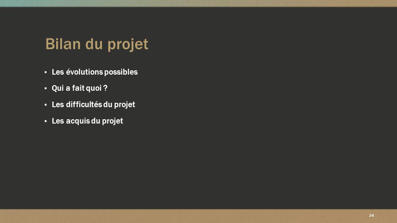 Bilan du projet Les évolutions possibles Qui a fait quoi