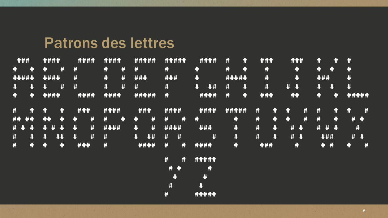 Patrons des lettres ### #### #### #### ##### ##### #### # # ### ### # # #