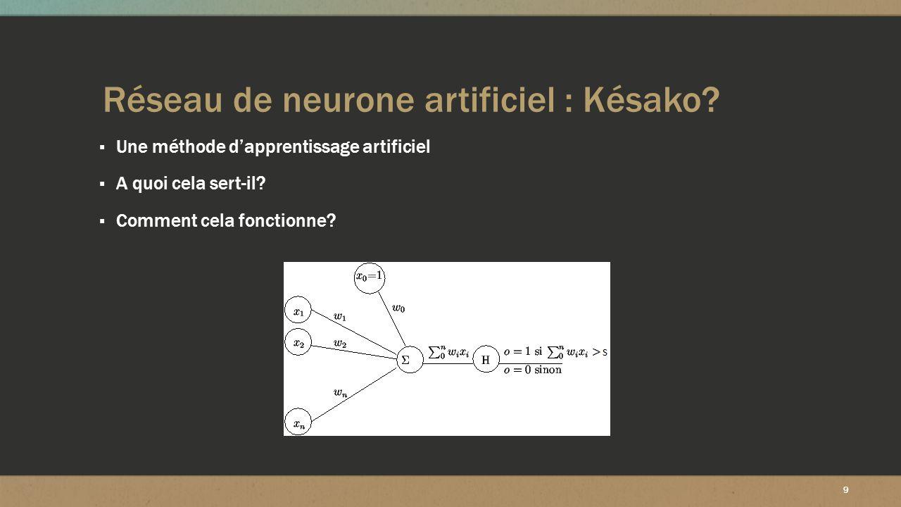 Réseau de neurone artificiel : Késako