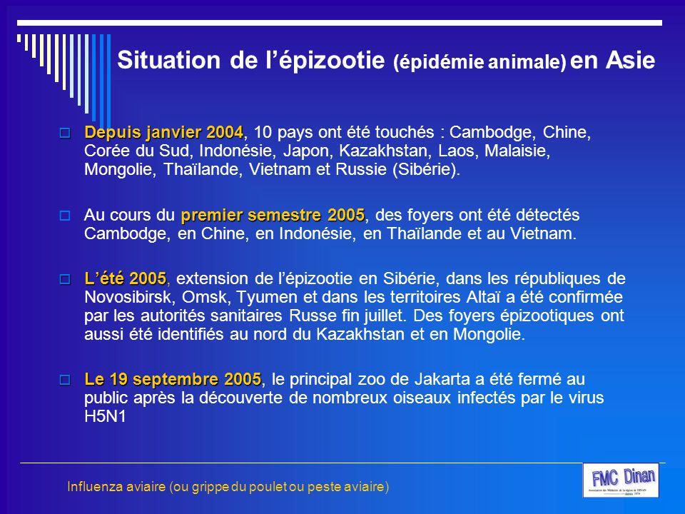 Situation de l'épizootie (épidémie animale) en Asie