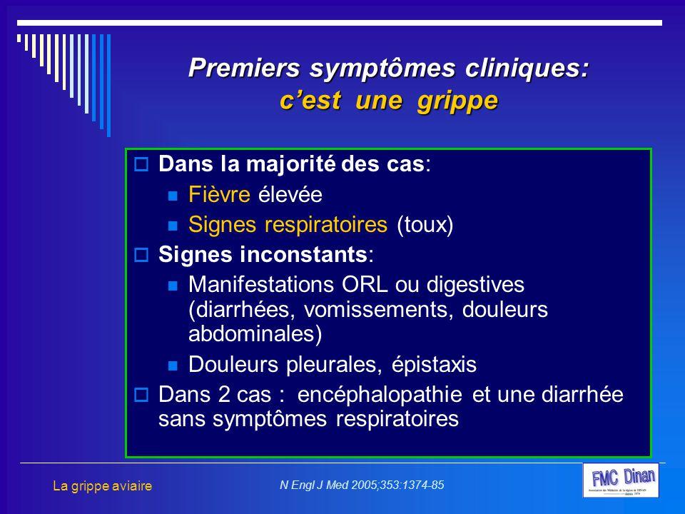 Premiers symptômes cliniques: c'est une grippe